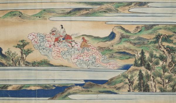 Prinz Siddhartha flieht aus seinem Leben als Prinz Detail aus einer Bildrolle mit der Lebensgeschichte des Buddhas Japan, 18. Jahrhundert Tusche und Farben auf Papier Nationalgalerie Prag