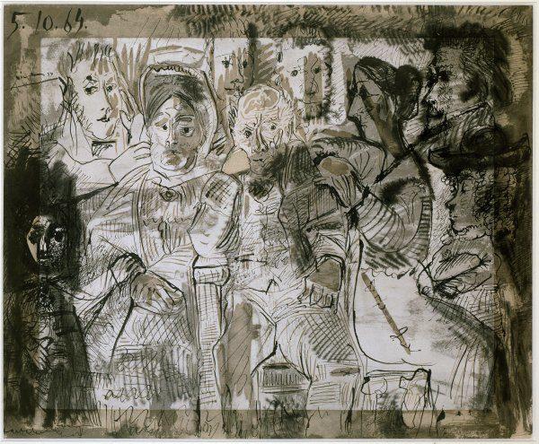 W&K Wienerroither & Kohlbacher : Pablo Picasso Málaga, Spanien 1881 - 1973 Mougins, Frankreich Tableau de Famille 1964 Bleistift, Tusche und Tuschtechnik über Linolschnitt auf Papier 62 x 75 cm Signiert und datiert links oben: 5.10.64 Picasso