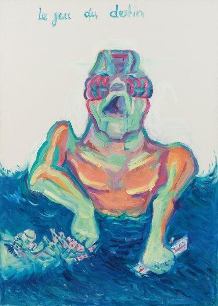 Kovacek & Zetter Fine Art & Contemporary: Maria Lassnig: Kappel am Krappfeld Kärnten 1919 - 2014 Wien, Le jeu du destin,1999, Öl auf Leinwand 206 x 147 cm, Betitelt Mitte oben: Le jeu du destin