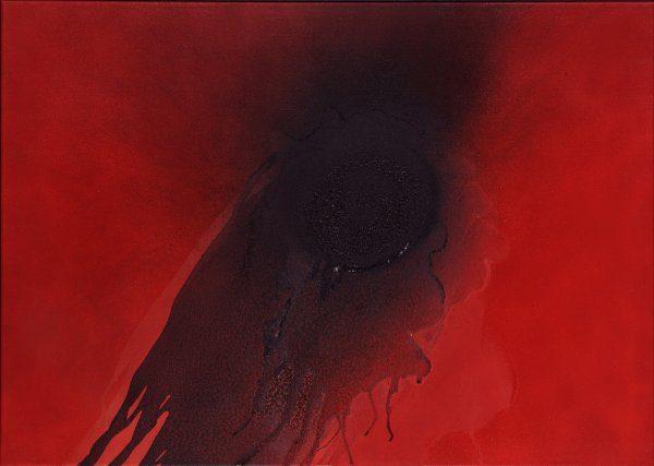 Galerie Maulberger: Otto Piene, Bad Laasphe 1928 - 2014 Berlin, Diagonal aufwärts 1999/2000, Feuergouache auf Leinwand 68 x 96 cm