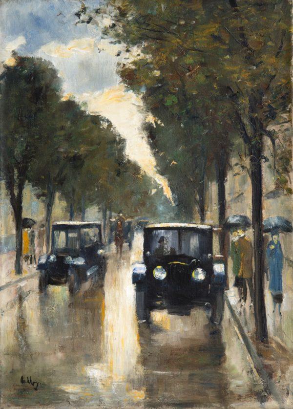 Galerie Schwarzer: Lesser Ury, Birnbaum Provinz Posen 1861– 1931 Berlin, Berliner Straße im Regen mit zwei Droschken, um 1920, Öl auf Leinwand 50 x 36 cm, Signiert unten links