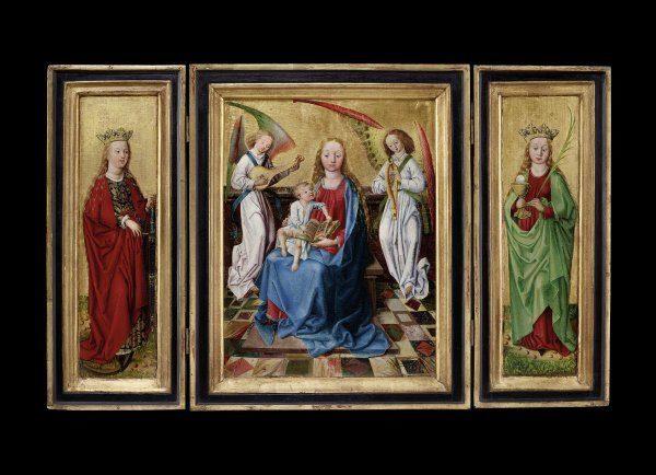 """Senger Bamberg Kunsthandel: Friedrich und Michael Pacher, Tirol 1435 - 1498 Salzburg Triptychon """"Maria mit Kind"""" um 1475 Tafelgemälde auf Goldgrund Maße geschlossen: 47,4 x 38,5 cm; geöffnet: 47,4 x 78 cm; zentrale Tafel 40,2 x 30,6 cm"""