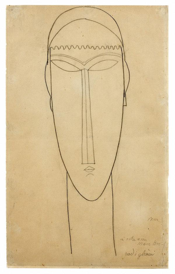 Amedeo Modigliani, Tête ou Tête de cariatide, circa 1911 1912 © Artcurial