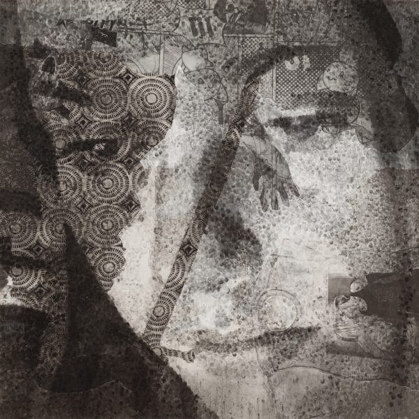 Jérôme Zonder: Caroline, 2018 Poudre de fusain et poudre de graphite sur papiers découpés et tissus sur toile, 150 x 150 cm, Courtesy de l'artiste et Galerie Nathalie Obadia, Paris/Bruxelles © MARC DOMAGE
