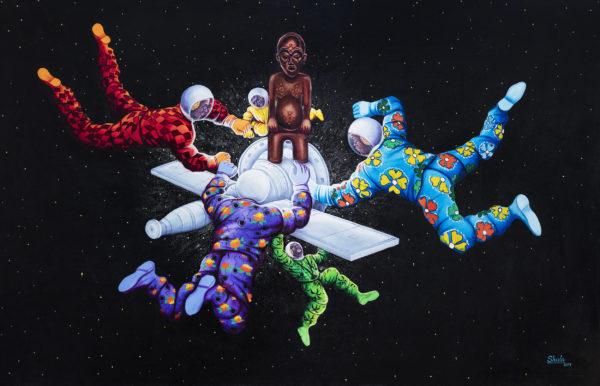 Ata Ndele Mokili (Tôt ou tard le monde changera). Monsengo Shula, 2014, Acryl und Pailletten auf Leinwand, 130 x 200 cm. ©Sammlung Henri und Farida Seydoux