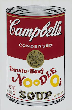 Andy Warhol, Campbell's Soup II: Tomato-Beef Noodle O's Soup, 1969 © The Andy Warhol Foundation for the Visual Arts, Inc. / 2020, ProLitteris, Zürich