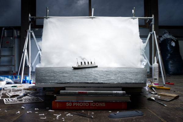 "Jojakim Cortis & Adrian Sonderegger, Making of ""The last photo of the Titanic afloat"" (by Francis Browne, 1912), 2014. © Jojakim Cortis & Adrian Sonderegger, Courtesy East Wing."