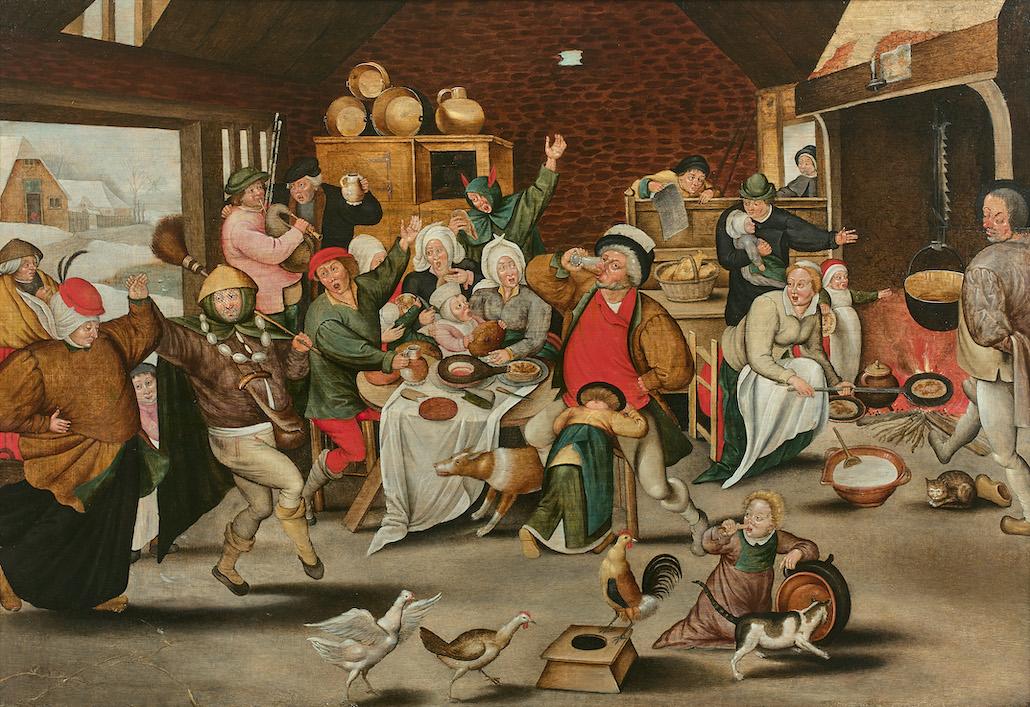 Pieter II BRUEGHEL, Le roi boit, Huile sur panneau de chêne © Artcurial