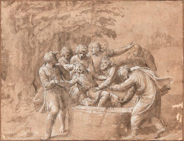 Polidoro da Caravaggio Joseph jeté dans le puits par ses frères © Artcurial