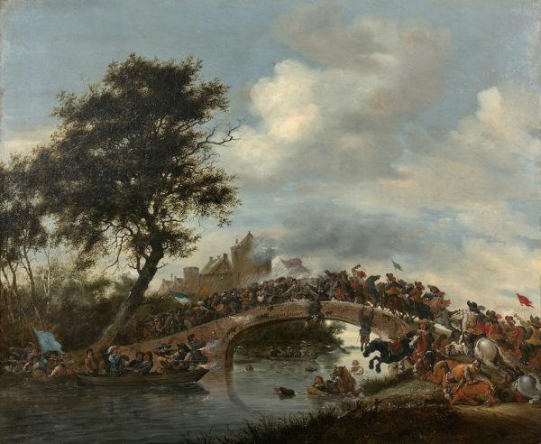 Salomon van RUYSDAEL: Scène de bataille sur un pont © Artcurial